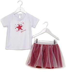 Conjunto Infantil Blusa e Saia Tule Estrelas Vermelho