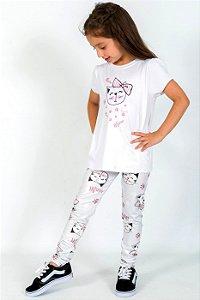 Conjunto Infantil Blusa e Legging Comprida Gatinho