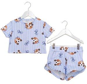 Conjunto Infantil Blusa e Shorts Beagle Azul