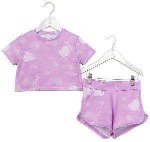 Conjunto Infantil Blusa e Shorts Baloes Roxo
