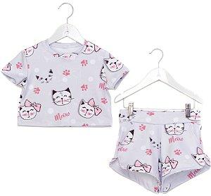 Conjunto Infantil Blusa e Shorts Gatinhos Cinza