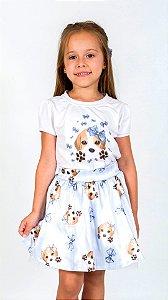 Conjunto Infantil Blusa e Saia Beagle Azul