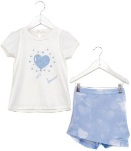 Conjunto Infantil Blusa e Shorts Saia Balão Azul