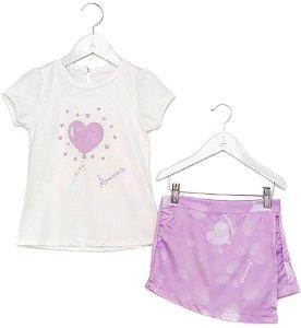 Conjunto Infantil Blusa e Shorts Saia Balão Roxo