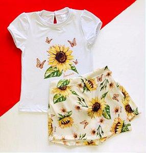 Conjunto Infantil Blusa e Shorts Saia Girassol