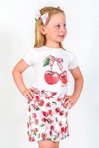 Conjunto Infantil Blusa e Shorts Saia Cerejas