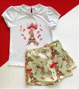 Conjunto Infantil Blusa e Shorts Saia Paris