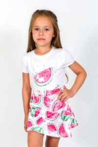 Conjunto Infantil Blusa e Shorts Saia Melancia