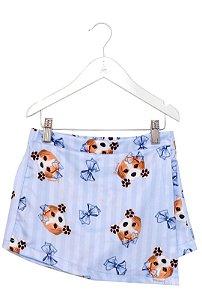Short Saia Infantil com Estampa Beagle Azul