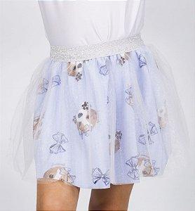 Saia Infantil Bailarina com Estampa Beagle Azul