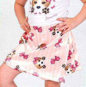 Short Saia Infantil com Estampa Beagle Salmão