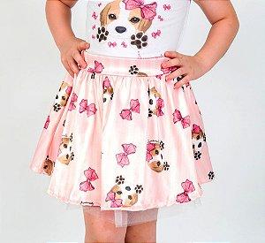 Saia Infantil com Estampa Beagle Rosa