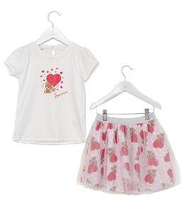 Conjunto Infantil Blusa e Saia Tule Urso Vermelho