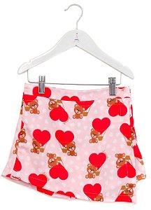 Short Saia Infantil com Estampa Urso Vermelho
