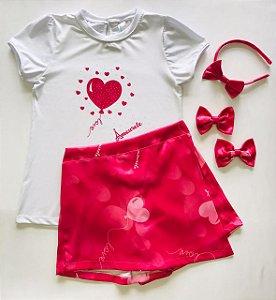 Conjunto Infantil Blusa e Shorts Saia Balão Rosa