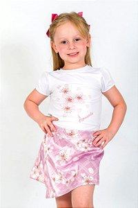 Conjunto Infantil Blusa e Shorts Saia Flores Xadrez Rosa