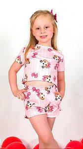 Conjunto Infantil Blusa e Shorts Beagle Rosa