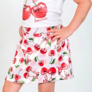 Short Saia Infantil com Estampa Cereja