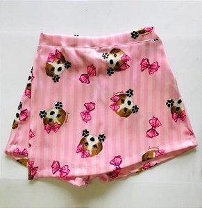Short Saia Infantil com Estampa Beagle Rosa