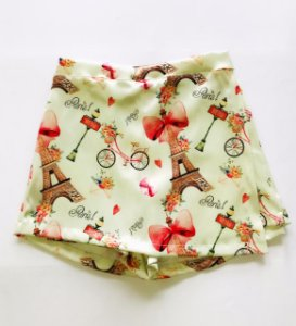 Short Saia Infantil com Estampa Paris