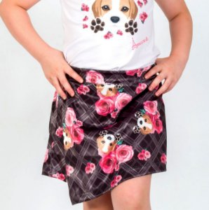 Short Saia Infantil com Estampa Beagle Xadrez Preto