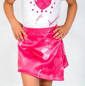 Short Saia Infantil com Estampa Balão Rosa