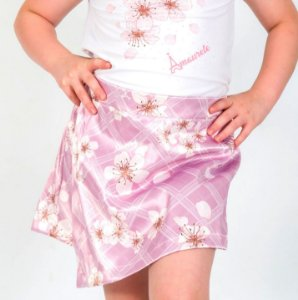 Short Saia Infantil com Estampa Flores Xadrez Rosa