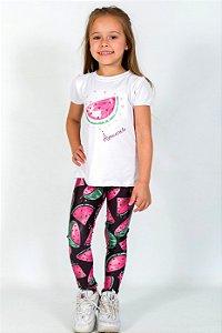 Conjunto Infantil Blusa e Legging Comprida Melancia Preto