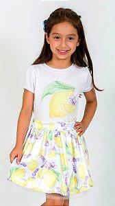 Conjunto Infantil Blusa e Saia Limão Amarelo