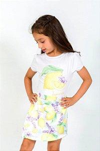 Conjunto Infantil Blusa e Shorts Saia Limão Amarelo