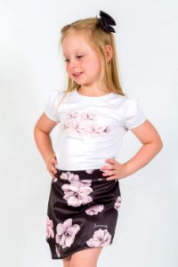 Conjunto Infantil Blusa e Shorts Saia Tulipa Preto