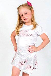 Conjunto Infantil Blusa e Shorts Saia Chevron Cinza