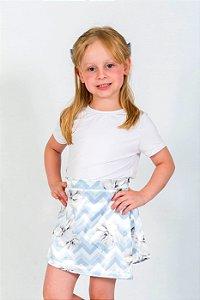 Conjunto Infantil Blusa e Shorts Saia Chevron Azul