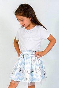 Conjunto Infantil Blusa e Saia Chevron Azul