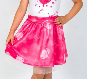 Saia Infantil com Estampa Balão Rosa
