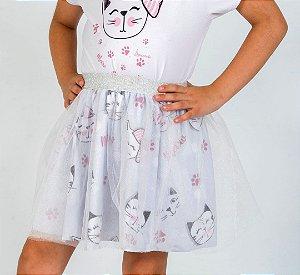 Saia Infantil Bailarina com Estampa Gatinhos