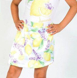 Short Saia Infantil com Estampa Limão Amarelo