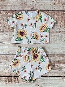 Conjunto Infantil Blusa e Shorts Girassol