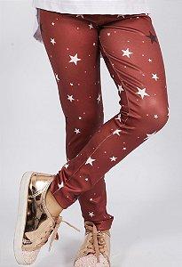 Legging Comprida Estrelas Vermelho