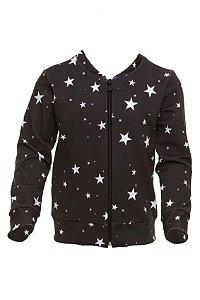 Casaco Com Zíper Estrela Preto