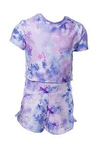 Conjunto Infantil Blusa e Shorts Tie Dye Roxo