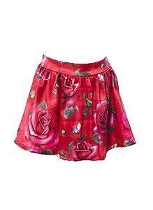 Saia Infantil com Estampa Rosas Vermelho