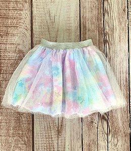 Saia Infantil Bailarina com Estampa Tie Dye Rosa