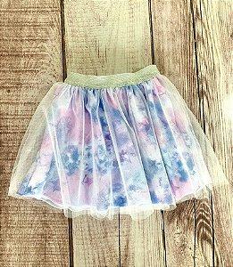 Saia Infantil Bailarina com Estampa Tie Dye Roxo