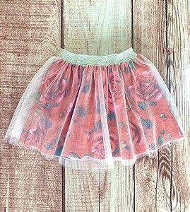 Saia Infantil Bailarina com Estampa Rosas Vermelho