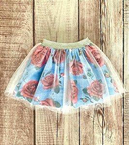 Saia Infantil Bailarina com Estampa Rosas Azul