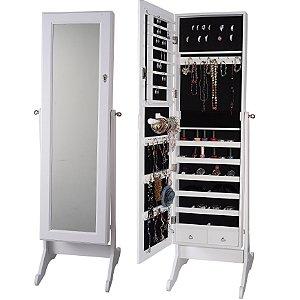 Espelho Porta Jóias e Bijuterias Organizador Branco