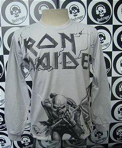 Camiseta manga longa toda estampada - Iron Maiden - Cinza