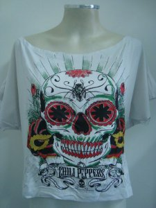 Blusinha gola canoa Red Hot Chili Peppers - Caveira Mexicana