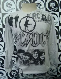 Camiseta manga longa toda estampada - AC DC - Cinza